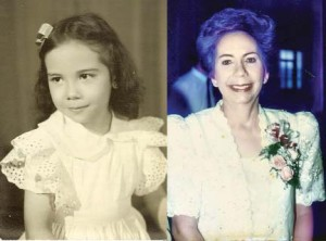 Hudson Leonida Cortez at age 5, and when she died in 1999.