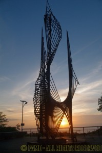 Eternal Flame sculpture at sunrise. (Photo by Steve Kwiecinski)