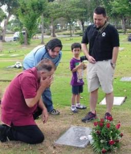 Hudson at his sister's grave.