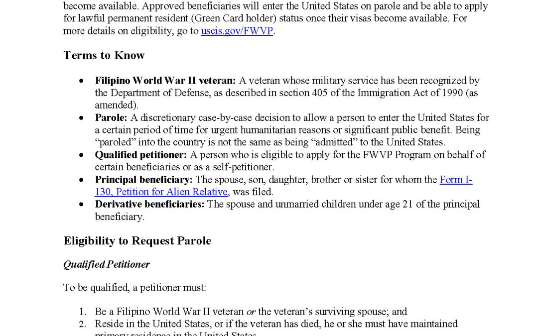 Important Information! Filipino War Veterans Parole Program